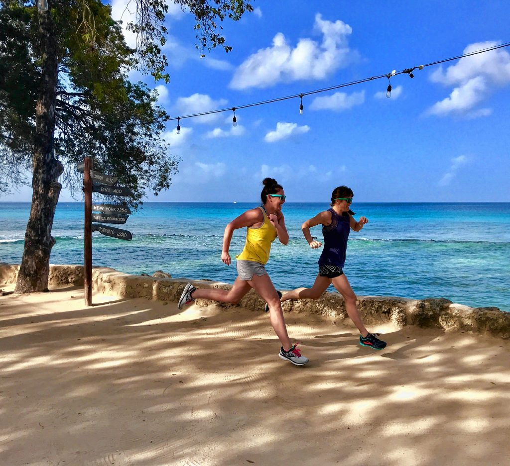 Crystal Reynolds (left) and Kate Fleming know a thing or two about running. You'll find plenty of running tips from both of them in this column. For best results, do your running in Barbados, as the ladies are doing here. Courtesy of Crystal Reynolds