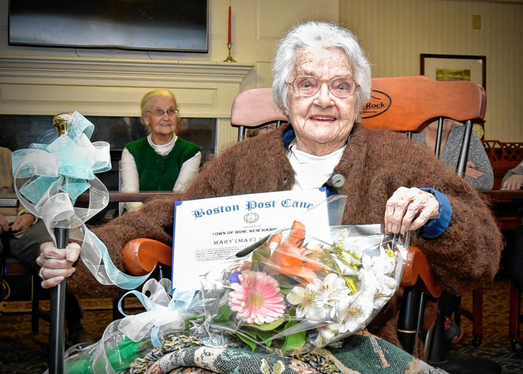 On Jan. 22, the Bow Board of Selectmen presented the Boston Post Cane to Mary (May) Allquist, the town of Bow's oldest resident. Allquist recently celebrated her 97th birthday, and she has been a resident of Bow for 40 years. The town has presented the Boston Post Cane to the town's most senior resident since 1909. At that time, the now-defunct Boston Post newspaper presented canes to communities in New Hampshire for this purpose. Bow residents are now awarded a replica cane, and the original cane is on display in the Board of Selectmen meeting room. Courtesy of Tonia Lindquist
