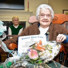 Mary Allquist, Bow's oldest resident, presented with Boston Post Cane