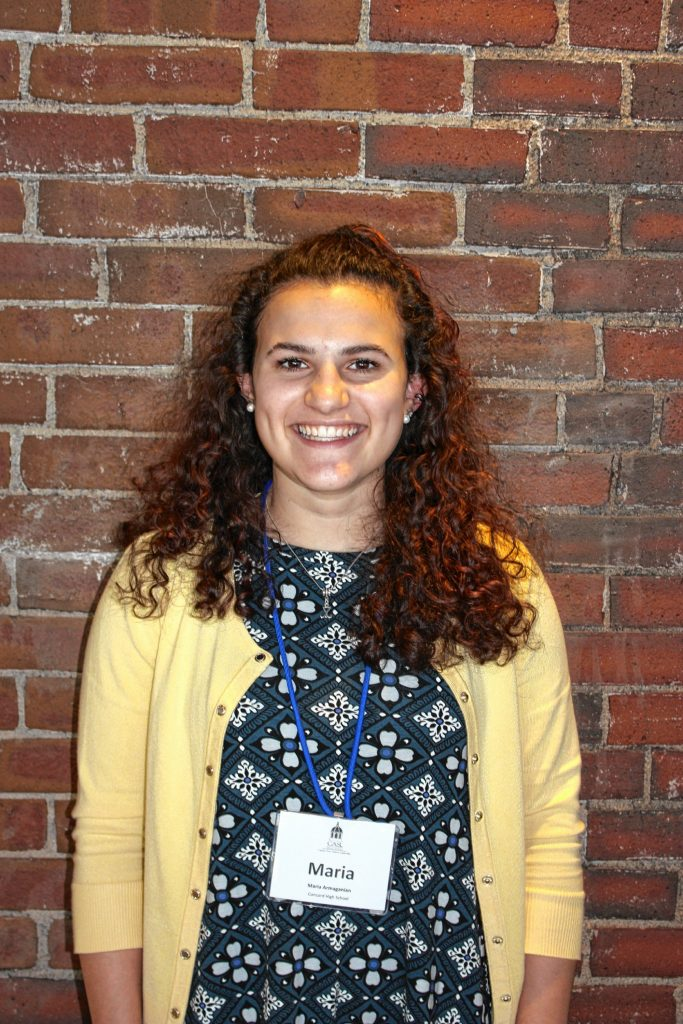 Maria Armaganian, Concord High School. One word that describes you: Inspiring. Two qualities of a good leader: Getting her point across (well-spoken), confidence. If you could spend a day with one person, who would it be? Justin Bieber. JON BODELL / Insider staff