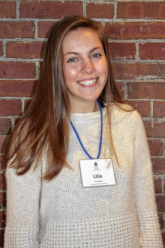 Lilia Klingler, Hopkinton Middle High School. One word that describes you: Adventurous. Two qualities of a good leader: Delegates, communicates. If you could spend a day with one person, who would it be? Serena Williams -- she is a powerful woman.  JON BODELL / Insider staff