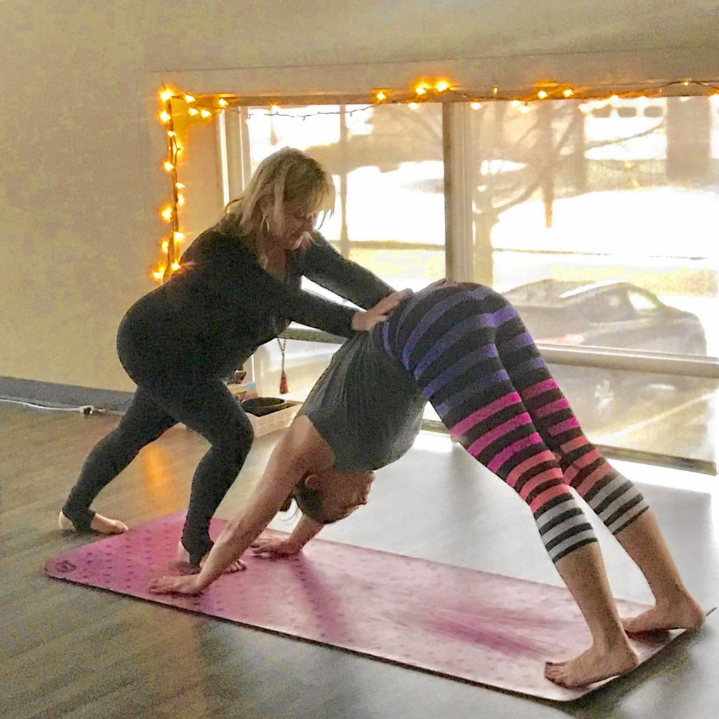 Some words of wisdom from yoga instructor Tina Poirier: It's important to not worry about what your body looks like in a yoga pose (asana) and let the practice unfold organically for you. Don't have an agenda when beginning your practice. Courtesy of Crystal Reynolds