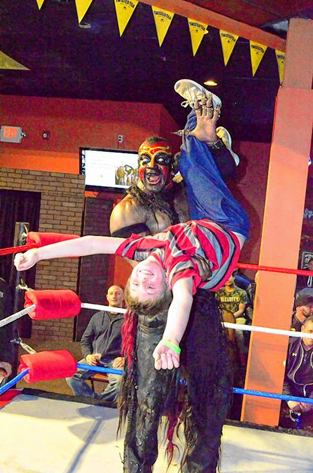 This looks a little scary, but look at how much fun the kid seems to be having!  This is the kind of family-friendly fun you can expect to have at Injustice for Brawl 2 at Everett Arena on March 31. Courtesy of Bill Trevor