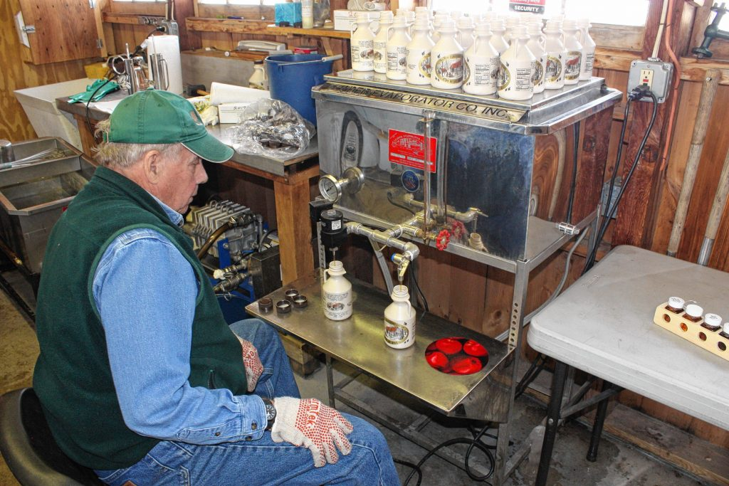 Despite the weird maple season we've had so far, Dean Wilber was still able to show us the process of bottling the finished product at Mapletree Farm last week. He does the packaging right in the same shack he makes the syrup in. (JON BODELL / Insider staff) JON BODELL / Insider staff