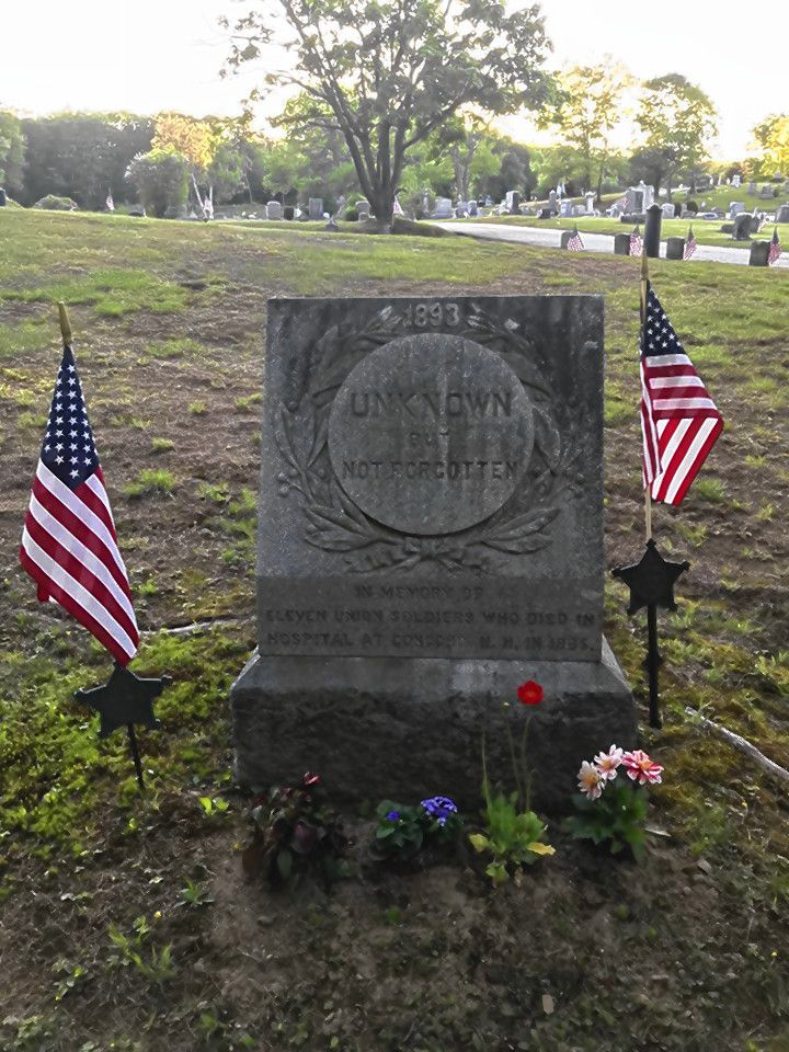 This grave marker commemorates the 11 young men who were wounded in the Civil War and later died at a hospital in Concord.  Courtesy of Jim Spain