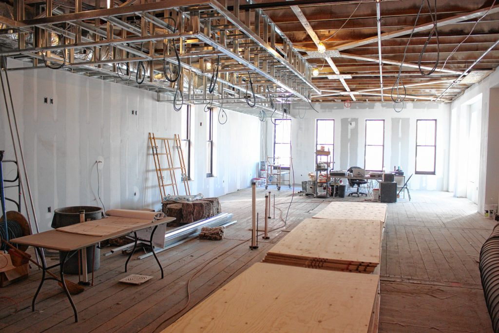 The Bank of New Hampshire Stage, set to open in June, will have an upstairs bar area overlooking Main Street where patrons can hang out before and after shows. This area will also be used for smaller, coffee shop-style performances. JON BODELL / Insider staff