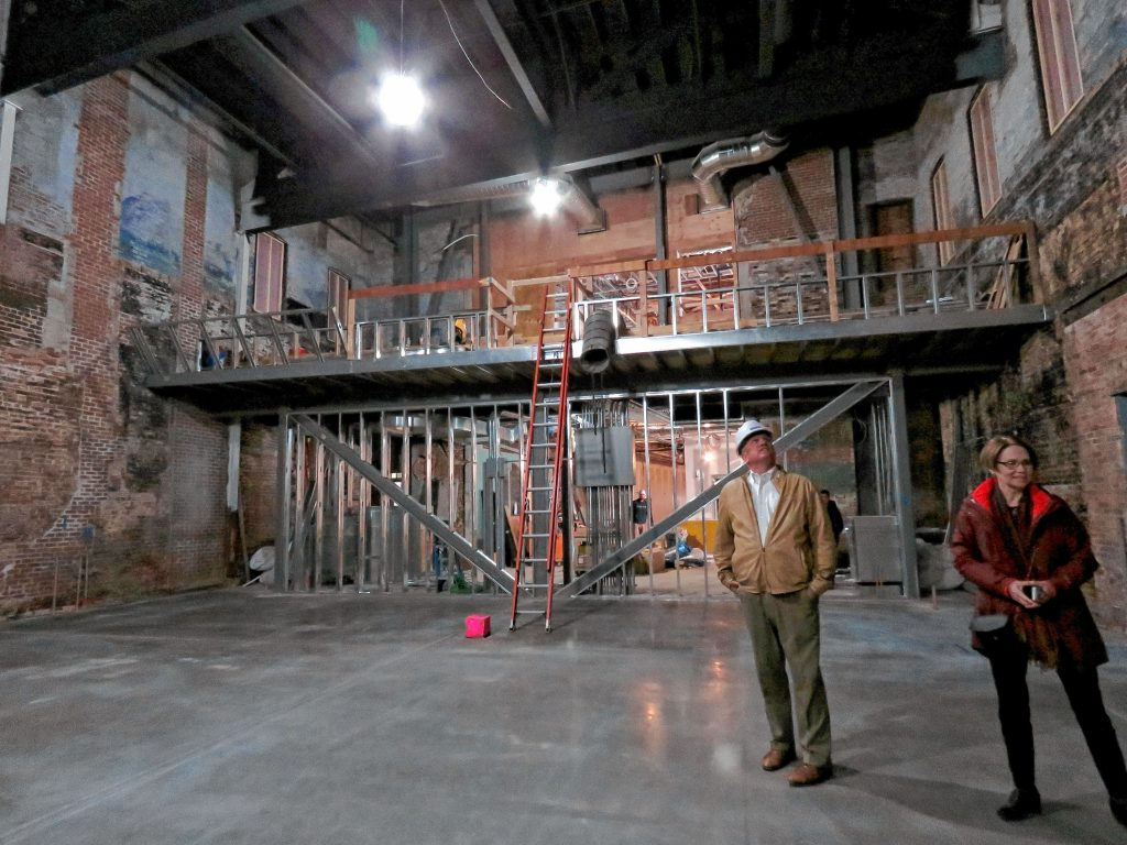 The inside of the Capital Center for the Arts's new theater as its being constructed is shown. The theater is expected to open in June with up to 400 seats, with an upstairs bar. The original brickwork will remain. Caitlin Andrews