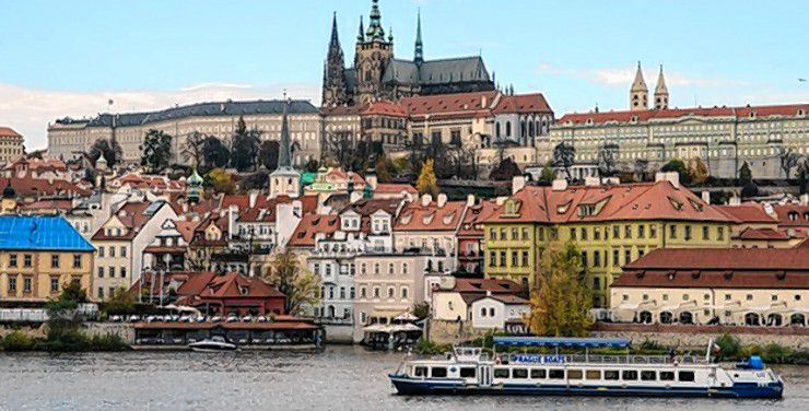 Prague rises up above the Vltava River, with Prague Castle in the background. Courtesy of Greater Concord Chamber of Commerce