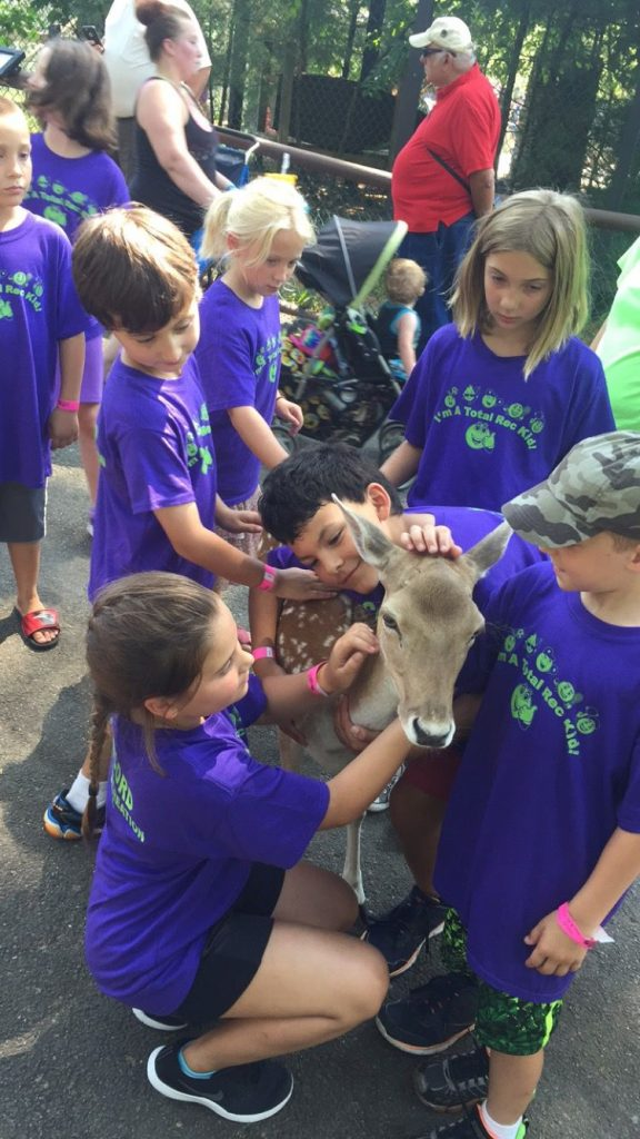 Campers from Concord Parks and Recreation's Rec Camp from last year (now known as Stay and Play Camp) get up close and personal with an adorable baby deer. Courtesy of Concord Parks and Recreation