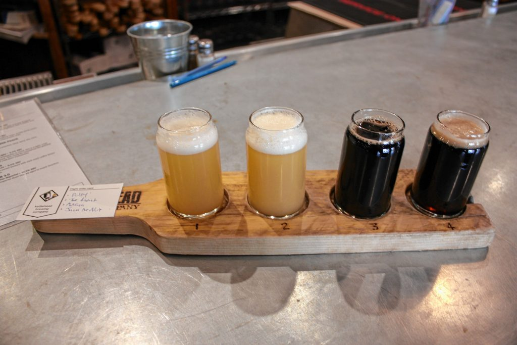 What, did you think we were going to go to a brewery and not try some beer? This flight from Kettlehead Brewing Co. contains (from left) Pulpy, The Agent, Mokaya with Cookies and Cream, and Java the Nut. JON BODELL / Insider staff