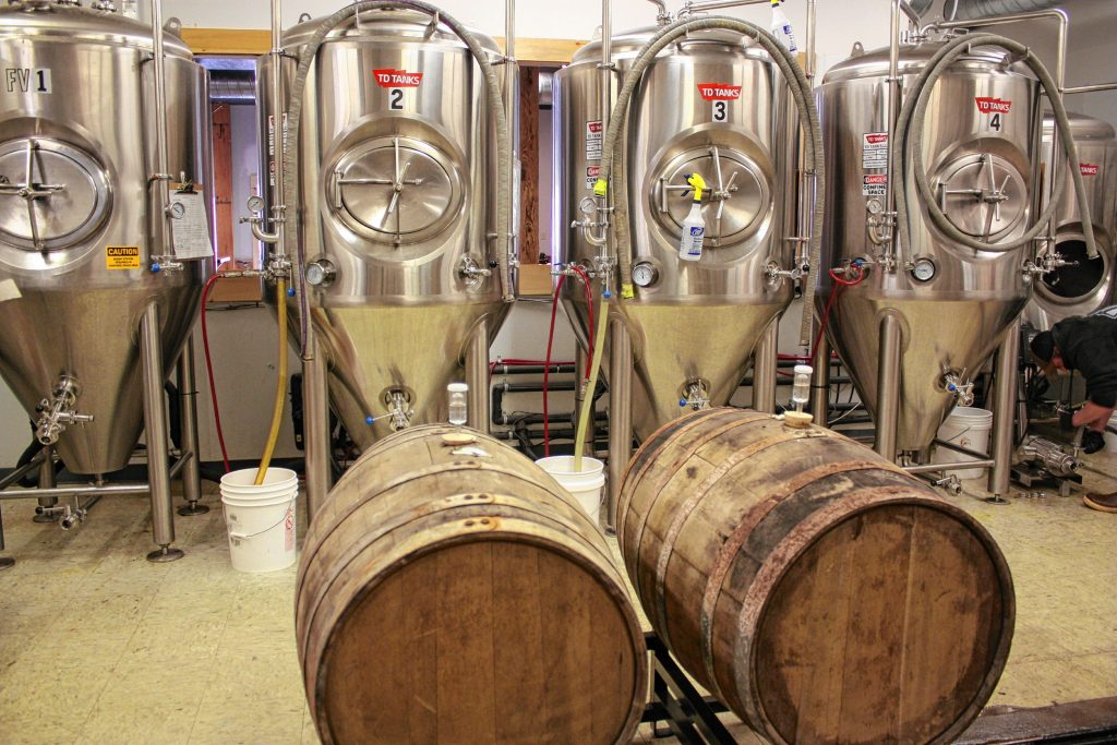 Kettlehead Brewing Co. in Tilton currently has six fermenters (four shown here) but will soon have a total of seven. That's a lot of beer. JON BODELL / Insider staff