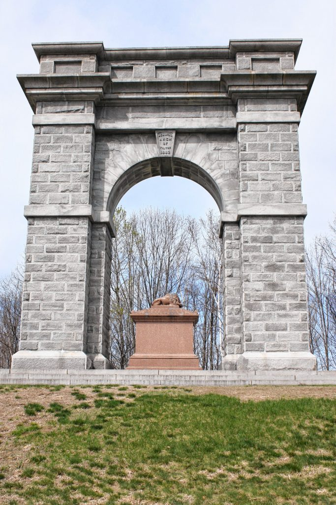 The Tilton Memorial Arch, which is actually in Northfield, is one of the signature landmarks in either town. Erected by Charles Tilton in 1882, the 55-foot-tall arch was built as a monument to the Tilton family and was intended to be a tomb for Charles Tilton. The arch is on the National Register of Historic Places.  JON BODELL / Insider staff