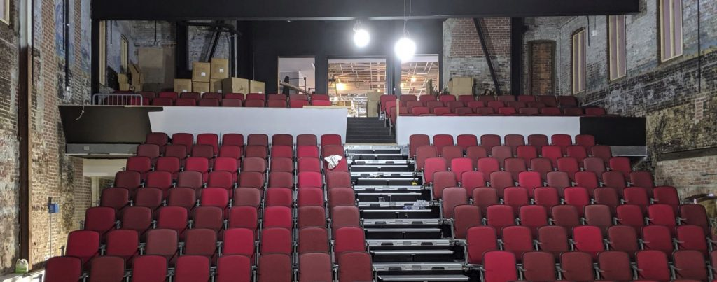 The retractable seats at the Bank of New Hampshire Stage have been installed. Capital Center for the Arts