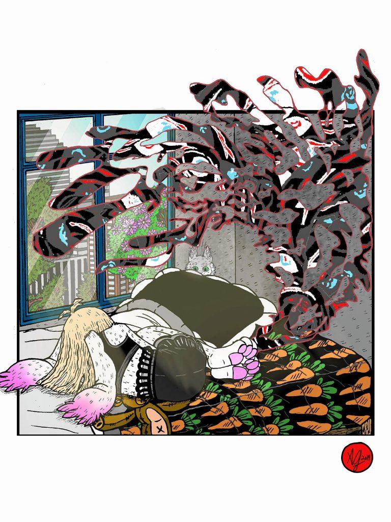 Emo Bunny: Anxiety Looms Part 1 by Amaranthia Sepia. Courtesy of Amaranthia Sepia