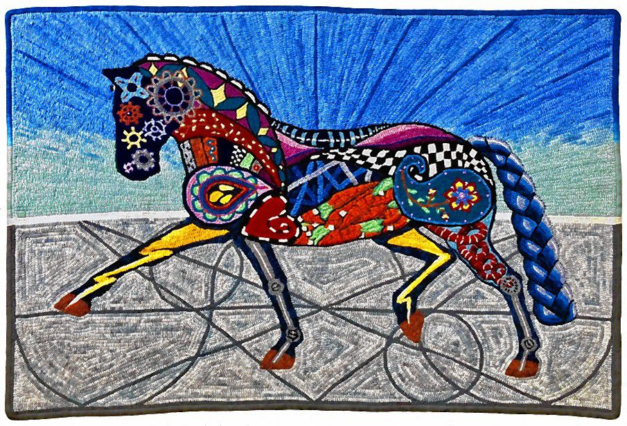 This depiction of a horse by Nancy Qualls of Hooksett will be on display at the League of NH Craftsmen headquarters in downtown Concord from June 20 to Sept. 13.  Courtesy of League of N.H. Craftsmen