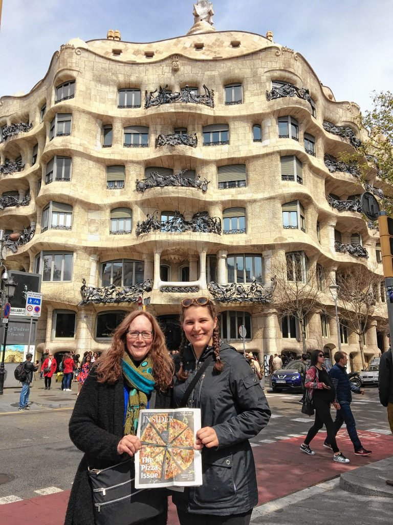 Debbie Varnell (left) and her daughter Kelly went to Barcelona for a couple weeks during Kelly's school vacation in March, and of course they couldn't leave the continent without bringing a copy of their trusty Insider along. Here they are in front of Casa Mila, also known as La Pedrera, a modernist building in Barcelona designed by architect Antoni Gaudi. That Pizza Issue looks great right in front of that funky building! Thanks for bringing us along, ladies!  Are you going somewhere exotic, exciting, or just plain cool? If so, bring a copy of your favorite Insider issue along with you and have your picture taken holding the paper in front of something picturesque. Send any photos to news@theconcordinsider.com, and we'll run them in the order in which they're received, as space allows. Courtesy of Debbie Varnell