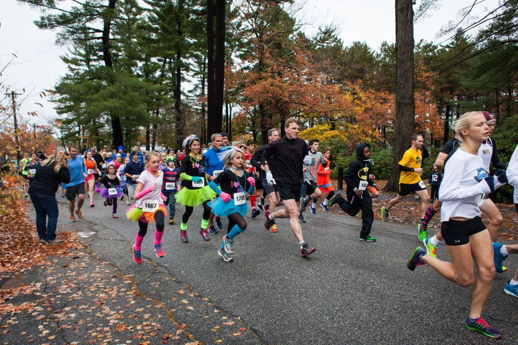 Runners leave the starting line of the Wicked FIT 5K race at Rollins Park in Concord on Saturday, Oct. 29, 2016. (ELIZABETH FRANTZ / Monitor staff) Elizabeth Frantz