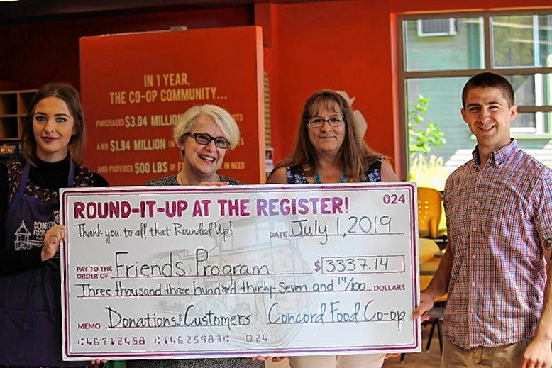 The Concord Food Co-op's Round-it-Up at the Register program raised more than $3,300 for the Friends Program through the month of April. Courtesy of Concord Food Co-op