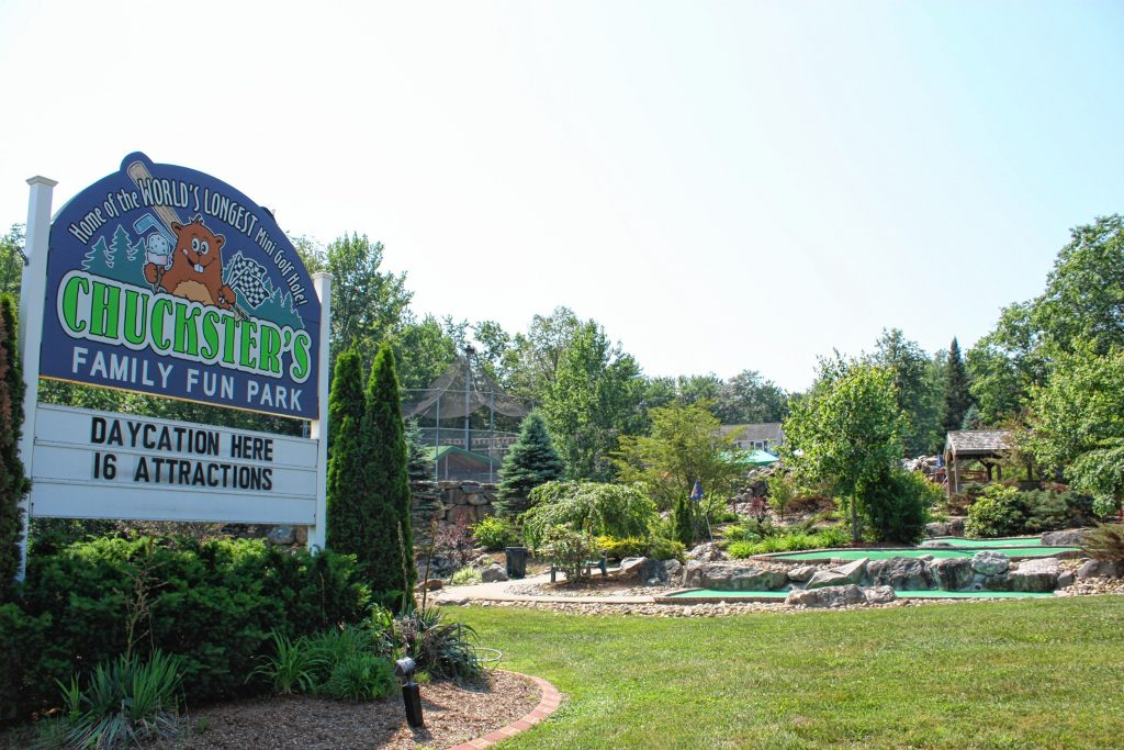 Chuckster's in Chichester is home to mini golf, batting cages, go karts, a rock-climbing wall, a zip line, paddle boats, games and all kinds of other fun stuff for the whole family.  JON BODELL / Insider staff
