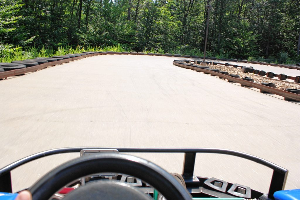 Here's my view from behind the wheel of a go kart at Chuckster's. Notice how there's nobody in front of me? JON BODELL / Insider staff