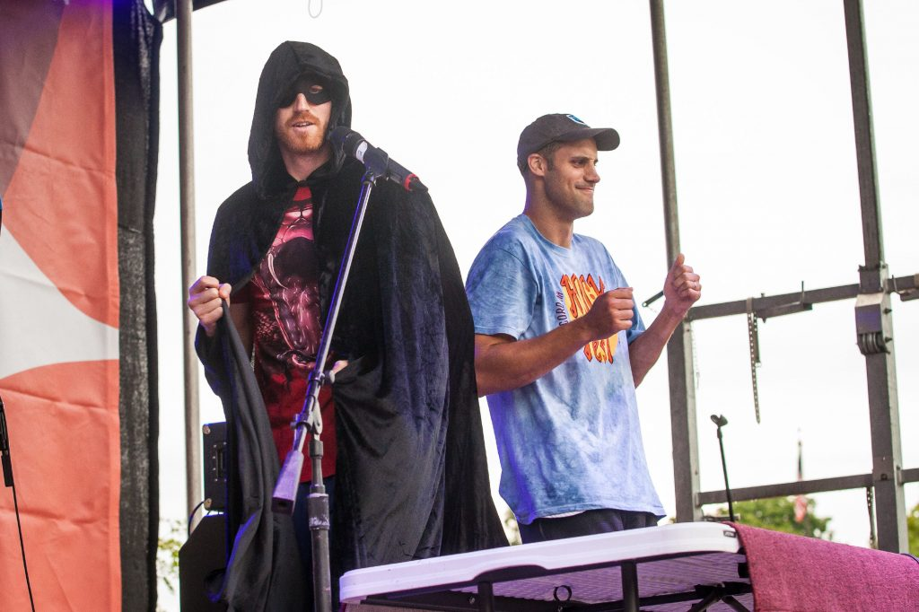 Matt Bonner (left) as DJ Red Mamba and Luke Bonner took the stage during the DJ Red Mamba Family Fun Dance Party of Rock On Fest at White Park in Concord on Aug. 13, 2016. (ELIZABETH FRANTZ / Monitor staff) Elizabeth Frantz