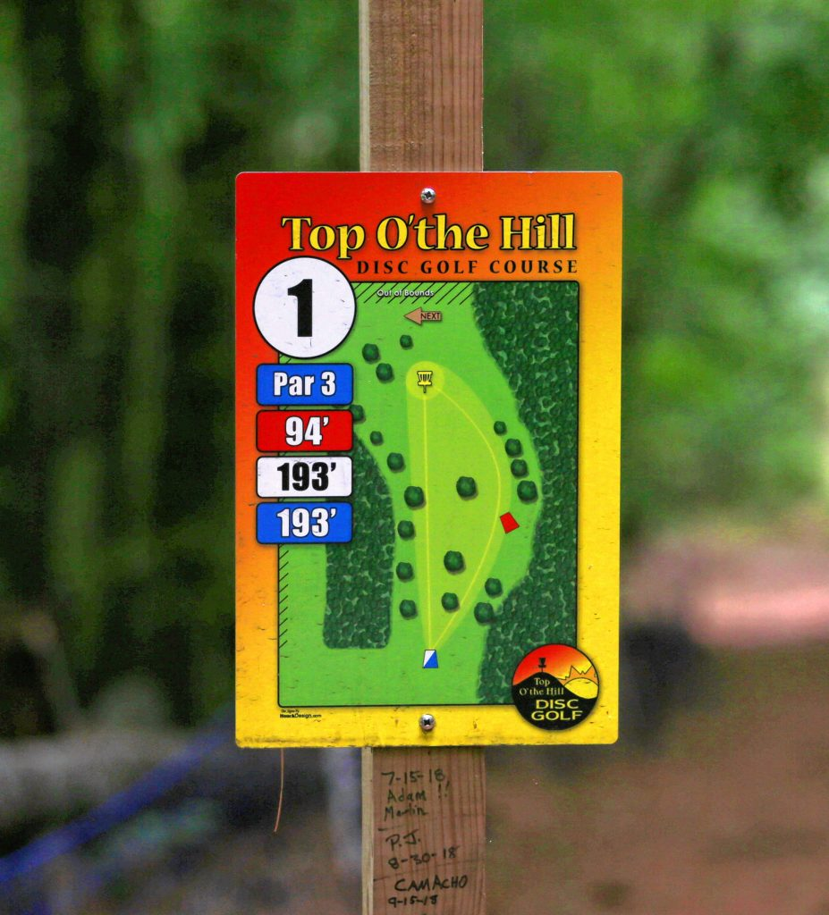 Similar to normal golf, many disc golf courses offer players a view of each hole near the tee box, including the distance and shots needed to reach par.