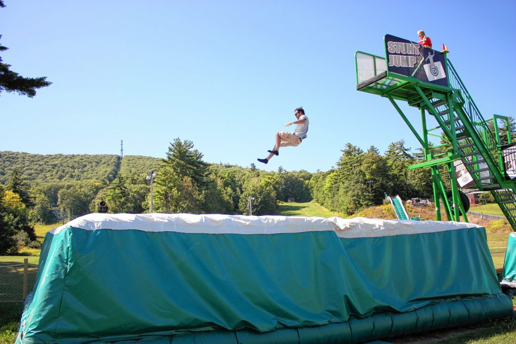 One of the many things you can do at Gunstock in non-skiing season is jump off a really high platform into a big cushion. They call this the Stunt Jump, however no stunts are allowed. RACHEL TEMPLAR / For the Insider