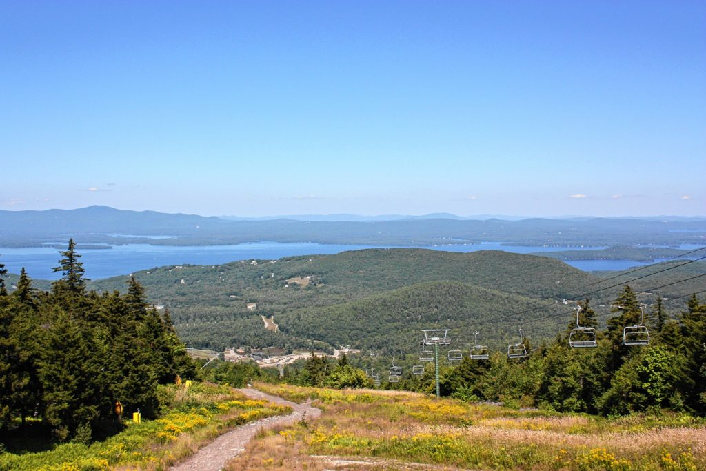 At Gunstock, you can take a scenic lift ride to the top of the mountain, where you'll be treated to this stunning view of Lake Winnepesaukee and the surrounding hills. JON BODELL / Insider staff