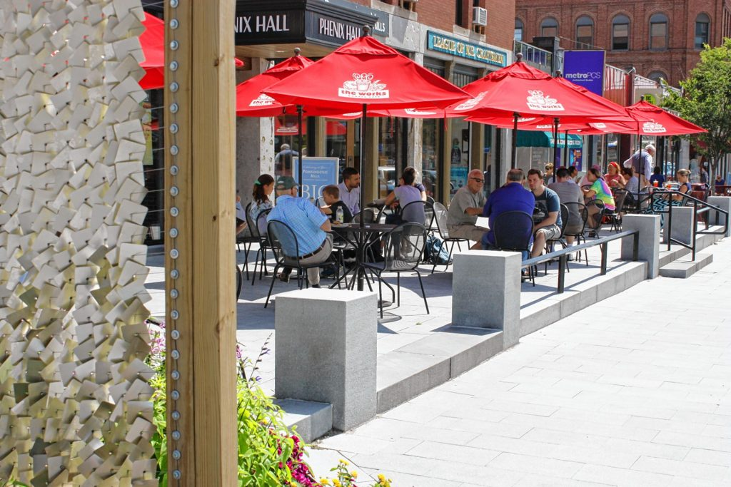 The Works Cafe has a large supply of outdoor tables with umbrellas -- enough to seat 32 people. JON BODELL / Insider staff