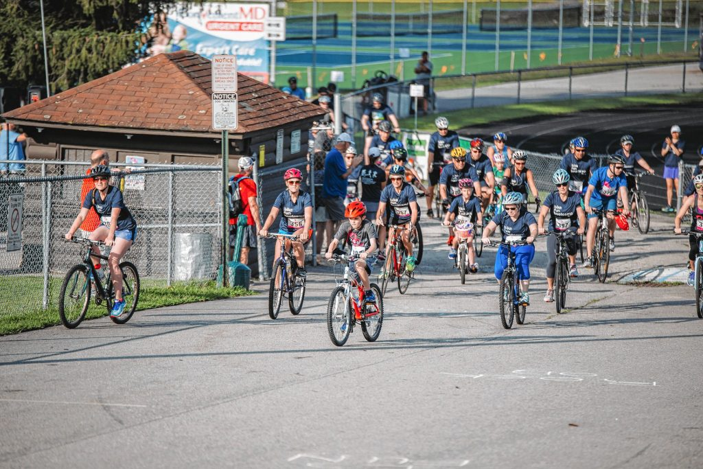 The start of the bike ride at last year's Fit4acause Triple Challenge at Memorial Field in Concord. The event raised $10,000 to fight cancer, and there are more people signed up for this year's Triple Challenge, which will be held on Aug. 18 at Memorial Field. To register, go to Fit4acause2019.eventbrite.com.