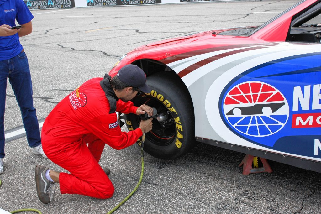 The tire change portion of the Media Racing Challenge is what did me in. After a couple quick lug nut replacements, I had trouble figuring out when the nut was all the way on, fumbling not once but twice, sinking my time. Christian Bodell / For the Insider