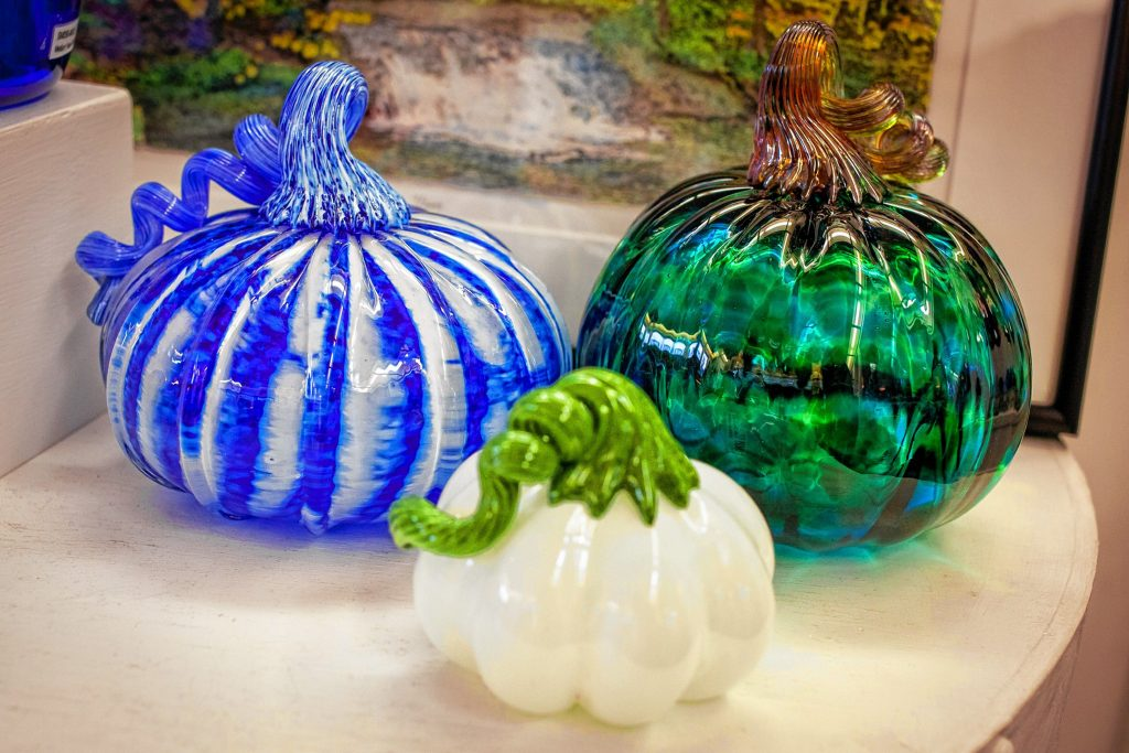 The League of N.H. Craftsmen Gallery in Meredith annually hosts a glass pumpkin patch.  ELIZABETH FRANTZ