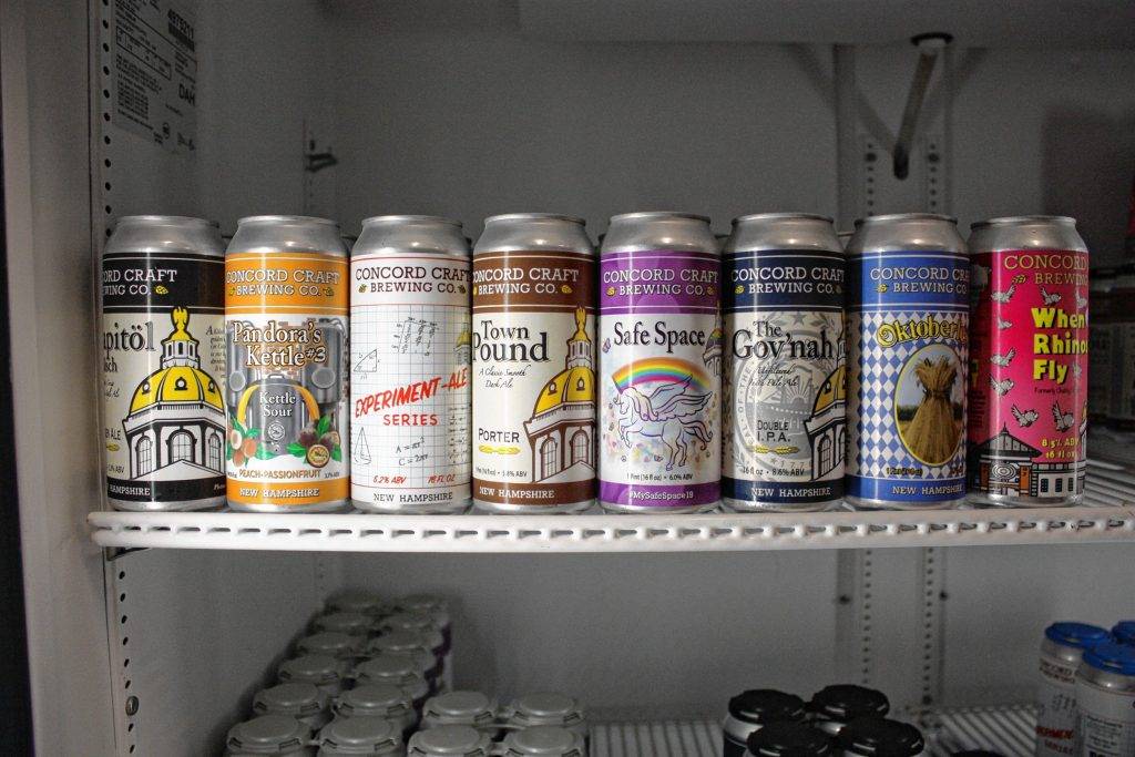 Concord Craft Brewing's full lineup of beers is available in cans at the brewery, including the Oktoberfest marzen-style lager (second from right). JON BODELL / Insider staff