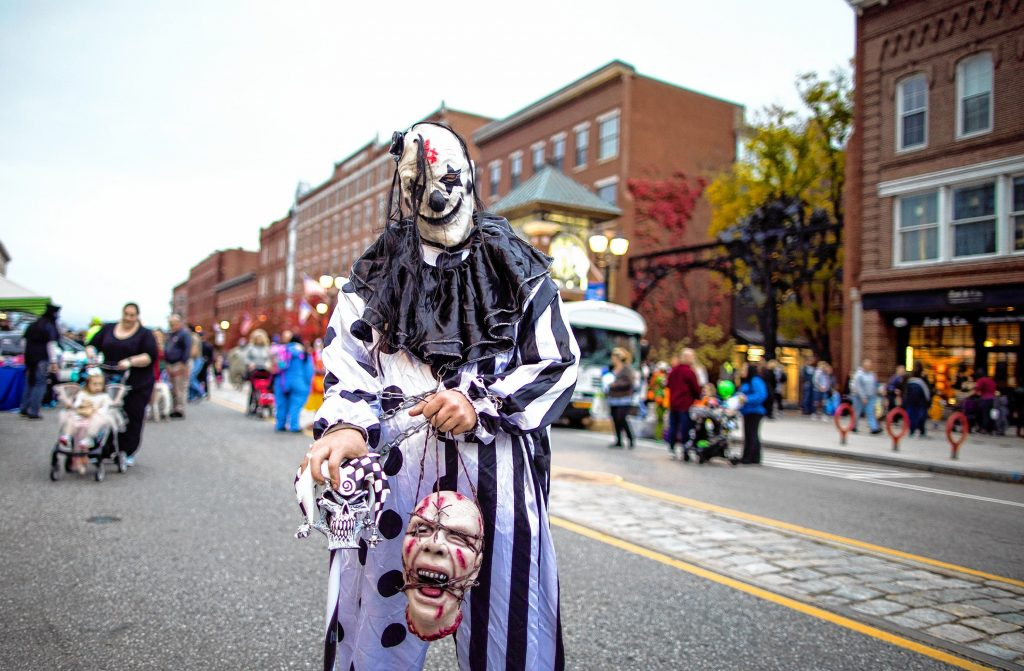 """When asked what this Halloween get up was, the answer was, """"I don't know,"""" at the Halloween Howl on Main Street in Concord on Friday evening, October 25, 2019. GEOFF FORESTER"""