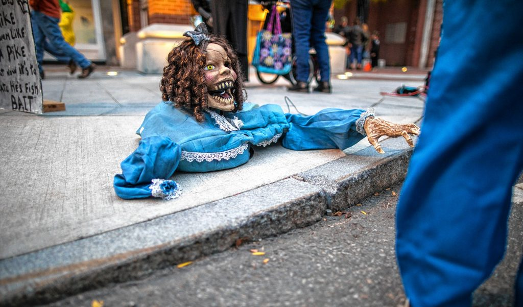 A ghoul on the sidewalk at the Halloween Howl on Main Street in Concord on Friday evening, October 25, 2019. GEOFF FORESTER
