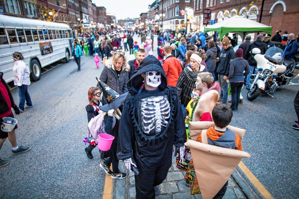 The crowd at Halloween Howl on Main Street in downtown Concord on Friday ev, October 25, 2019. GEOFF FORESTER