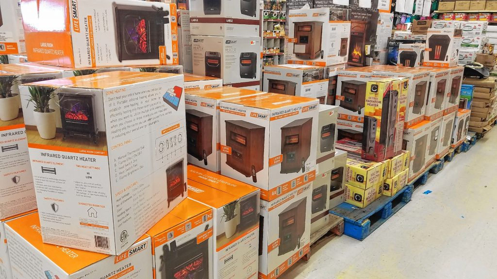 Got a nagging draft in your house? Solve that quick with a large-room space heater, of which the Job Lot has dozens in stock in assorted sizes and styles. JON BODELL / Insider staff