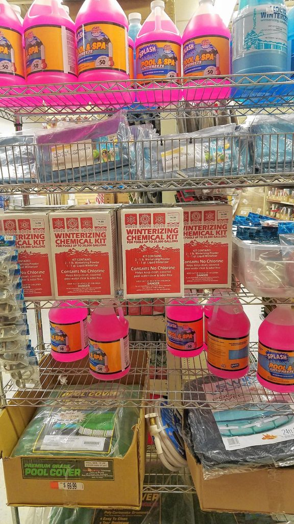 If you still haven't squared away your pool for the winter, you can get everything you need on one shelf at Ocean State Job Lot, from winterizing kits to antifreeze to tarps and more. JON BODELL / Insider staff