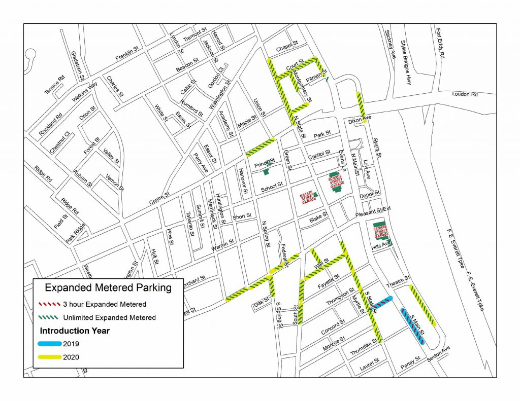 This map shows the locations of expanded meter parking in downtown Concord. The yellow sections indicate where the roughly 315 new meters will be installed and operational by Dec. 2, 2019. Courtesy of Matt Walsh / City of Concord
