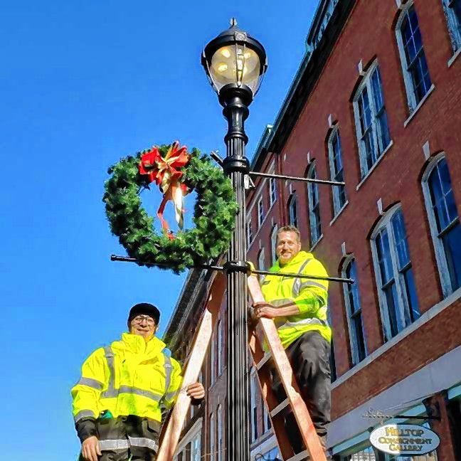 Concord General Services crews have spruced up downtown with holiday wreaths. Courtesy of City of Concord