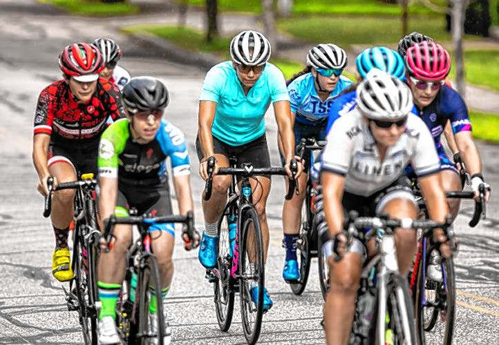 Concord's own Rebecca Fahringer (center) competes in the Women's 1/2/3 bicycle race at the 39th Annual Concord Criterium on Saturday, August 3, 2019. GEOFF