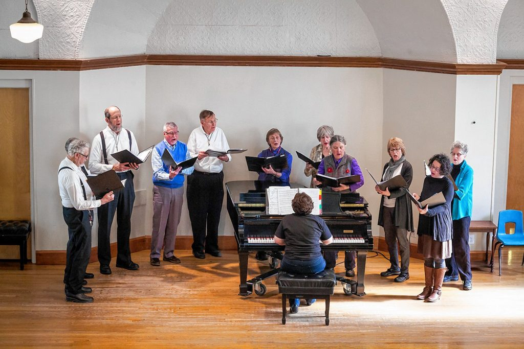 "The Canterbury Singers, with director Kathryn Southworth, will present a Bach's Lunch Concert, ""Come, the Feast is Ready! A Shaker Christmas,"" at Concord Community Music School on Dec. 12. Courtesy of Concord Community Music School"