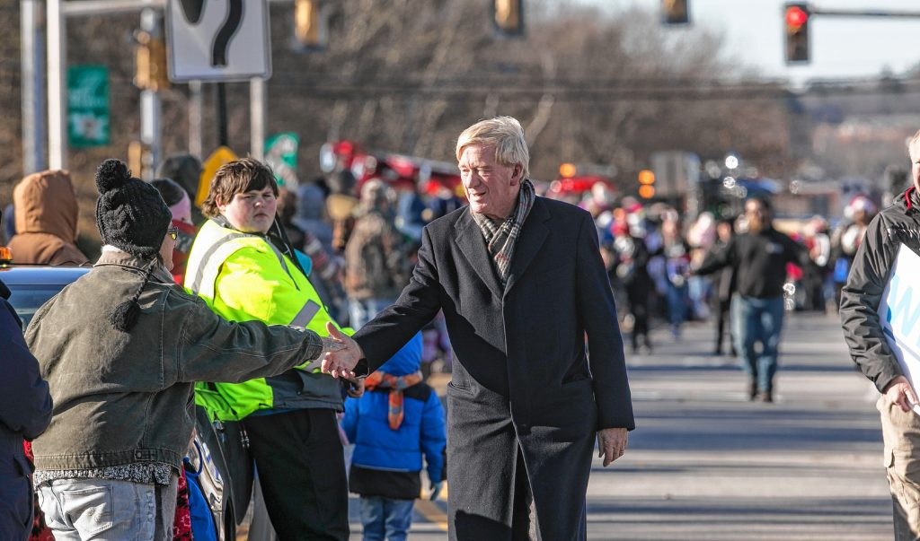 Republican presidential candidate William Weld marched in the 68th Annual Grange 322 Concord Christmas parade along Loudon Road on Saturday, November 23, 2019. GEOFF FORESTER