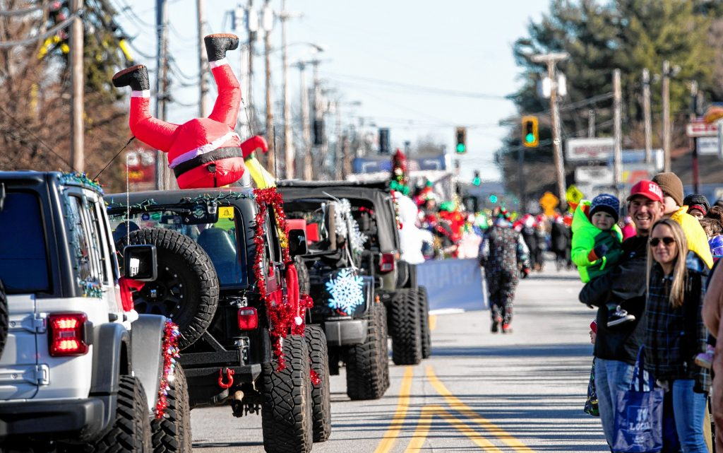 A Santa inflatable on top of one of the Granite State OffRoad vehicles at the 68th annual Concord Grange 322 Christmas parade on Saturday morning, November 23, 2019. GEOFF FORESTER