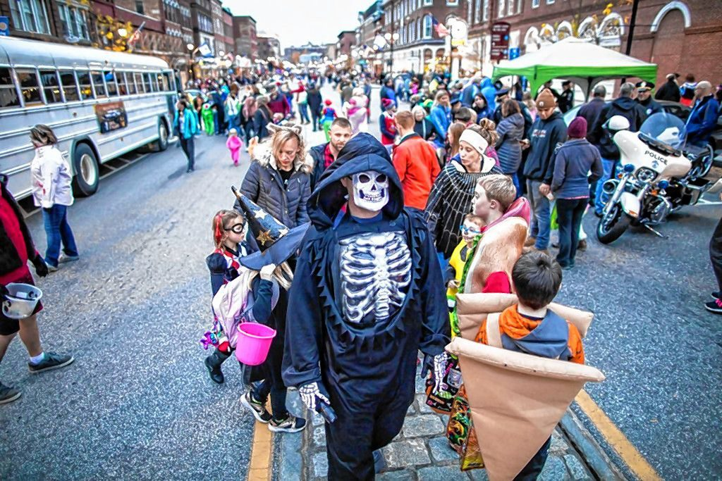 The crowd at Halloween Howl on Main Street in downtown Concord on Friday evening, October 25, 2019. GEOFF FORESTER