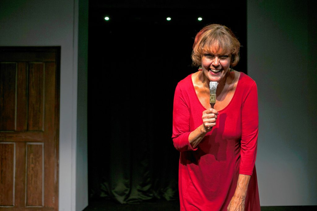Carol Ballard performs a comedy routine in 2018. She co-founded Nodo Productions which runs  Laughta in New Hampsha comedy classes and monthly performances at Tandy's.