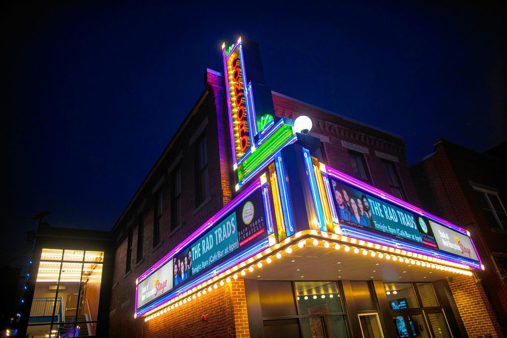 The marquee of the new Bank of New Hampshire Stage in downtown Concord on Saturday night, August 17, 2019. The smaller venue of the Capitol Center for the Arts has opened with musical groups and stage presentations in an intimate setting.