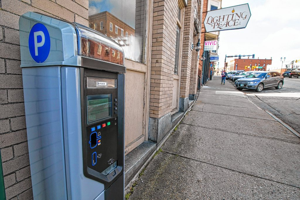One of the new parking meters on Pleasant Street extension in downtown Concord in December 2019.