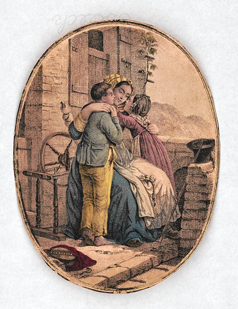 A 1840 drawing depicts a family sharing an embrace.  Library of Congress