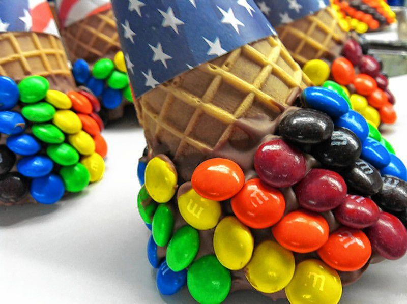 Upgrade your order at Granite State Candy Shoppe with a candy coated waffle cone.